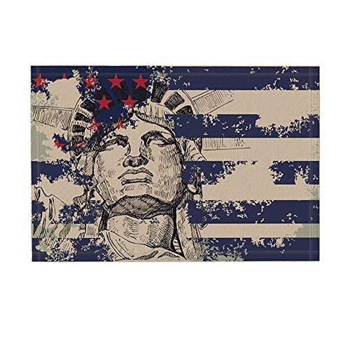 ottbrn The Stars and Stripes Badmat De oude Ruhm en het vrijheidsbeeld antislip voetmat vloeringangen, binnendeur, mat, badkamertapijt, traagschuim, 15,7 x 21,6 inch