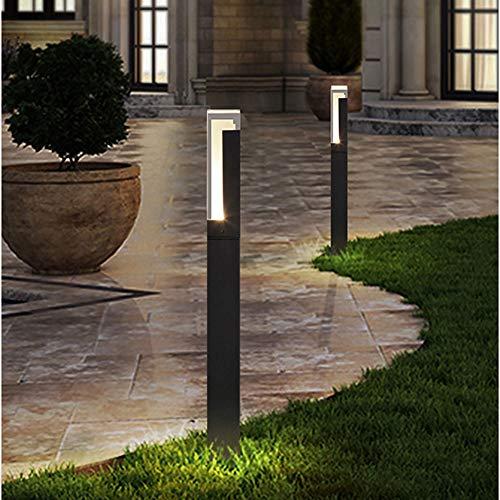 Vinmin Gartenpfostenleuchte im Freien, LED-Gartenleuchte im modernen Design, Sandschwarz + Acrylaluminium Wasserdichtes Acrylblasenlampenschirm-Rasenlicht