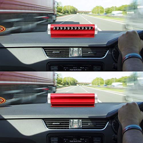NO LOGO CCH-DIANHUAPAI, Auto Temporary Parkausweis Roller Typ Rotating Stoppschild Universal-Rotate Telefonnummernschild Handy-Zahl-Karte (Style : Red)