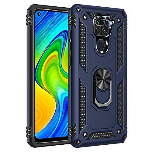 Max Power Digital Funda para móvil Xiaomi Redmi Note 9 Anillo Giratorio 360 Metálico Imán Magnético Carcasa Rígida Antigolpes Resistente Soporte Bumper Case (Xiaomi Redmi Note 9, Azul)