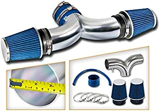 Rtunes Racing Short Ram Air Intake Kit + Filter Combo BLUE Compatible For 05-10 Jeep Grand Cherokee V8 / 06-10 Jeep Commander V8 / 06-10 Grand Cherokee 6.1L SRT8 V8 with DUAL filters …