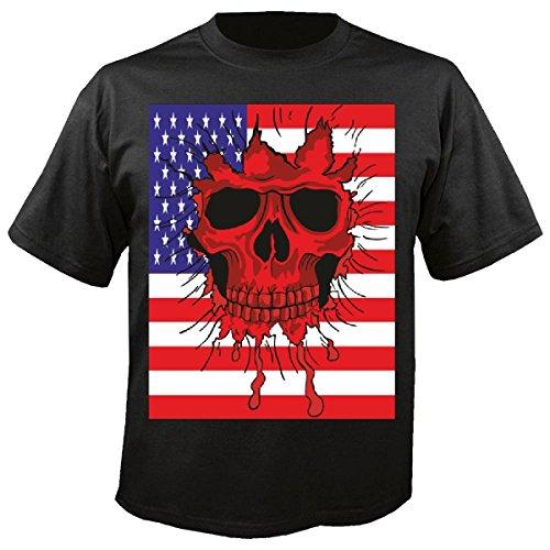 T-shirt Remera America Schedel USA Indicator Skull Biker Route Wip motorkleding Chopper 66 inch in zwart
