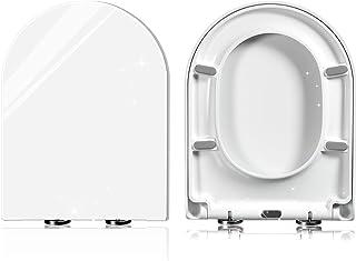 Abattant de WC en forme de D avec système d'abaissement automatique, fixation par le haut, charnière en acier inoxydable r...