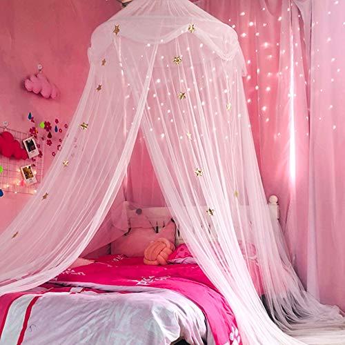 LIN HE SHOP Garn Moskitonetz Baldachin Kuppel Prince & Princess Star Spielzelt & Spielhaus für Jungen, Mädchen - Töchter und Enkelinnen, einfach zusammenklappbare Aufbewahrung (Farbe : Weiß)