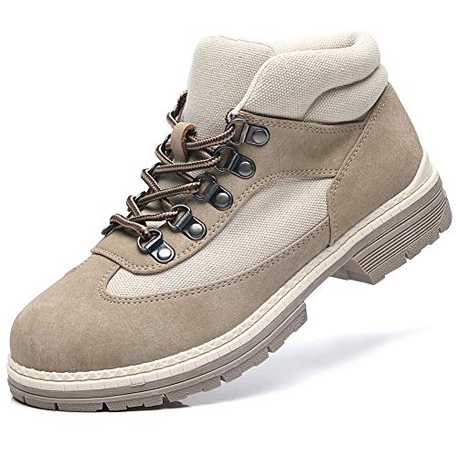 ANJOUFEMME TAN Hiking Boots for Women - Ladies Combat Work Ankle Boots, Walking Hiking Shoes FNW008-Tan-9
