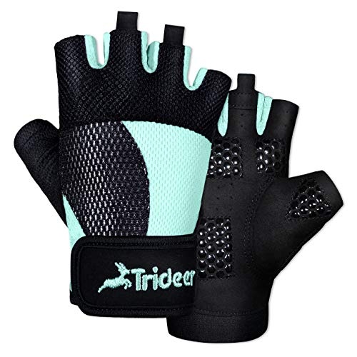 Trideer Breathable Workout Gloves Women, Weight Lifting Gloves, Gym Gloves, Exercise Gloves for Climbing, Boating, Dumbbells, Cross Training (Light Blue, S (Fits 6.3-7.1 Inches))