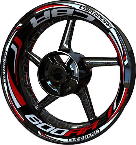 Motocicleta Moto Llanta Inner Rim Tape Decal Pegatinas F2 para Honda CBR 600 RR CBR600RR 600RR (Rojo/Blanco)