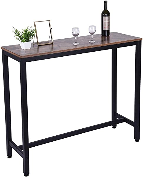 Homefami Pub Bar Table 47 2 Dining High Top Table Industrial Kitchen Bar Table Teak Color