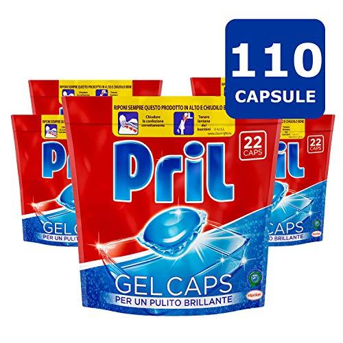 Pril Gel Caps Detersivo Lavastoviglie, Pulito Brillante, 5 Confezioni da 22 Capsule