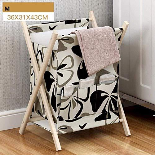 WY-YAN Taoshi CBEC madera durable de alta capacidad de la cesta del almacenaje plegable portátil gruesa de algodón ropa for recién nacidos juguetes sucios cesta de ropa (Otros Accessaries no incluido)