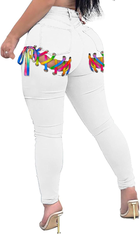 ESULOMP Women's Skinny Ripped Jeans Street High Waist HipLifting Slim Fit Strappy Denim Pants Boyfriend Jeans Pants