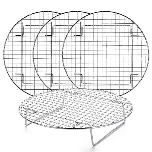 Foraineam 4 Pack 10.5 inch Steamer Rack Round Grilling Rack for Cooling Steaming Baking Cooking, Lifting Food in Pots, Cake Pan, Pressure Cooker and Oven