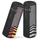 Logitech UE Boom 2 Portable Waterproof Bluetooth Speaker - Wireless Boom Box - Downtown Deco Multi-Color and Black White Stripes - Bulk Packaging (Twin Pack - 2 Speakers)