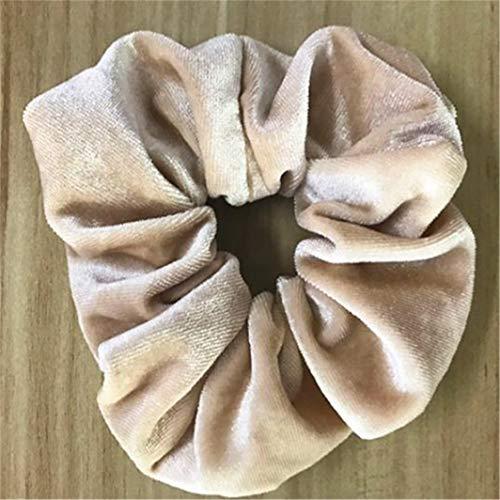 SHIJIAN - Élastiques à cheveux colorés en velours, chouchous doux pour cheveux - Accessoires de cheveux pour femmes et filles, flanelle, Creamy-white