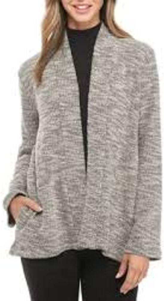 Eileen Fisher White/Black Organic Cotton Knit Jacquard Kimono Cardigan Jacket Size