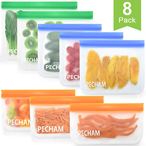 Learn More About Reusable Storage Bags,8 Pack BPA FREE Leakproof silicone food storage freezer bags(...