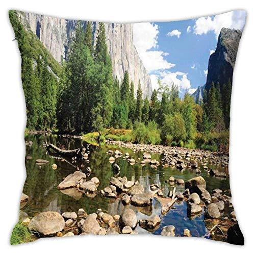 Funda de cojín para cojín, Nubes mullidas y piedras del bosque del río Yosemite National Park California USA Waterscape, 45,7 x 45,7 cm