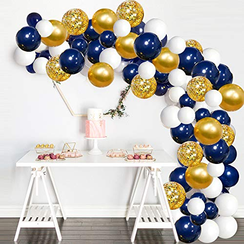 Navy Blue Balloons Garland Kit, 120 pcs Navy and Gold Confetti White Balloons Arch with 16ft Tape Strip & Dot Glue for Party Wedding Birthday DIY Decoration