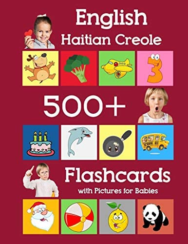 English Haitian Creole 500 Flashcards with Pictures for Babies Learning homeschool frequency product image