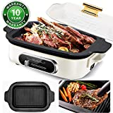 BSTY All-in-One Compact Multifunction Cooker with Electric Skillets 4-Speed Temperature Control and 1,000-Watt Heating Plate | Electric Pan | Electric Griddle