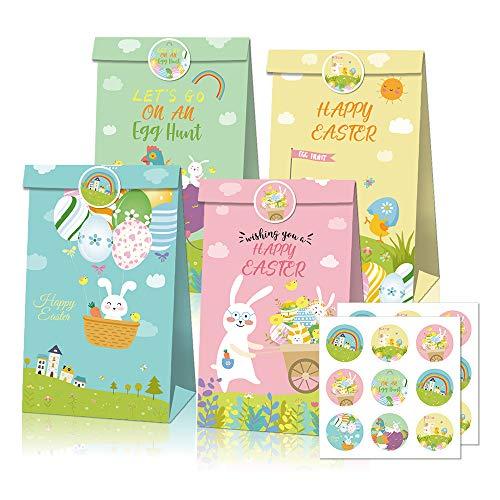 Ostern Geschenktüte 12 Bedruckte Tüten zu Ostern mit Hasen 12 Papiertüten und Osterhasen Aufklebern Ostergeschenke für Kinder Geschenktüten Ostern Ostertüten aus Papier Osterdeko