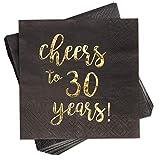 Servietten Cheers to 30 Years, 50 Stück, Cocktailservietten, 3-Lagig, Schwarz, Goldfolien-Aufschrift, 25,4 x 25,4 cm Ungefaltet -