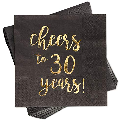 Gold Foil Cheers to 30 Years Black Cocktail Paper Napkins (5 x 5 In, 50 Pack)