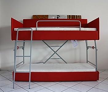 Ponti Divani Cama litera con Mecanismo Innovador, Equipado con un Sistema de Seguridad. Dos colchónes Incluido! Tapicería de Tela. Producto Made IN Italy!!!