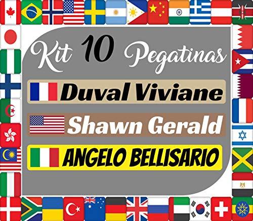 Kit x10 Pegatinas Vinilo Banderas Internacionales + tu Nombre - Bici, Casco, Pala De Padel, Monopatin, Coche, Moto, etc. Kit de Diez Vinilos (Pack Fuentes 1) (Letra A-K)