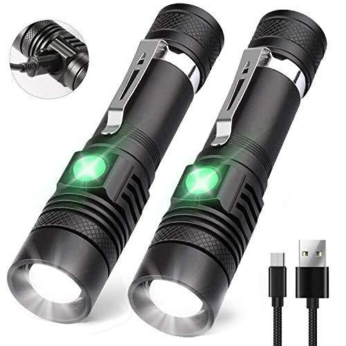 AOMEES USB Taschenlampe LED Aufladbar Taschenlampe, superhelle wiederaufladbare Taschenlampe wasserdichte Flashlight für Innen Außen (einschließlich 18650 Batterie)