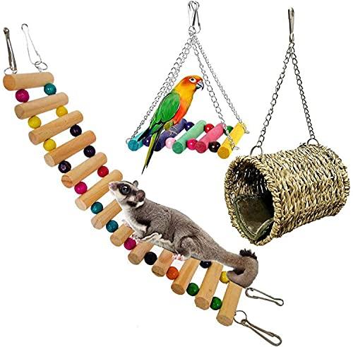 Wonninek 4 Stück Haustier Hängematte Hamster Hängespielzeug, Haus Hängendes Bett Käfig Spielzeug für Kleintier Hamster Ratte Spielzeug