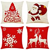 Ogrmar 4PCS 18'x18' Throw Pillow Covers Christmas Decorative Couch Pillow Cases Cotton Linen Pillow Square Cushion Cover for Sofa, Couch, Bed and Car