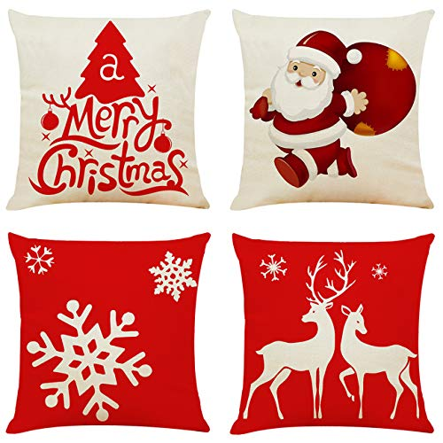 Red and White Christmas Pillow Covers