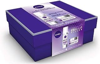 NIVEA Pack Hyaluron Cellular Filler Crema de Día Antiedad y Serum Pearls set de belleza en estuche de regalo para una pie...