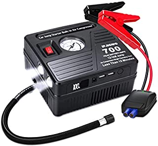 Portable Car Jump Starter with Air Compressor, 700 AMP 120 PSI, 18000 mAh Li-on Battery Jump Pack with Air Pump, Built-in 2 USB Charging Ports and 2 LED Lights, 6L Gas 5L Diesel Car Starter by Jf.egwo