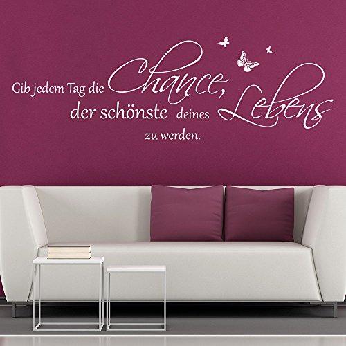 KLEBEHELD® Wandtattoo Gib jedem Tag die Chance, der schönste deines Lebens zu werden. | Spruch | Größe 80x26cm, Farbe schwarz