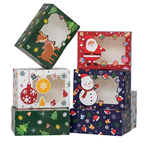 TOMNK 28 Pieces Christmas Cookie Boxes Baking Box with Window for Pastries, Cupcakes, Candy, Holiday Bakery Treat and Party Favor 8.3 x 5.9 x3.7 Inches