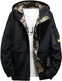 Outdoor Hooded Jacket for Men with 3 Pocket Zip up Sports Jacket Windproof Windbreaker Drawstring Waterproof Coat