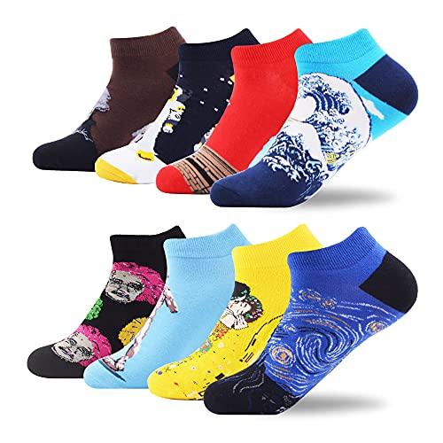 WeciBor Calcetines cortos Hombre Estampados Hombres Ocasionales Calcetines Divertidos Impresos de Algodón de Pintura de Arte Calcetines Verano Tobillo Calcetines de Colores de moda (ESB058-64)