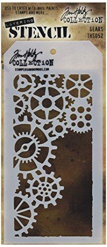 Unbekannt Stampers Anonymous Tim Holtz Schicht-Schablonen, 10,5x 21,6cm, Zahnräder