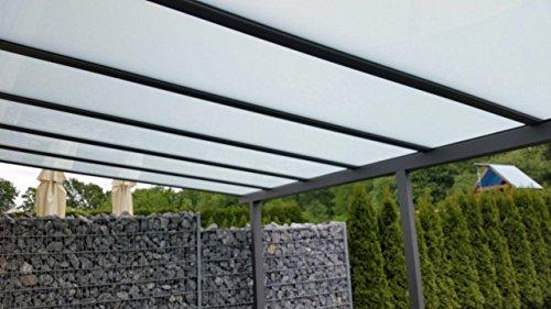 Terrasoverkapping/terrasdak Classico S 4000 x 2500 mm van aluminium met VSG glas helder 10.2 DB703 ijzeren glans