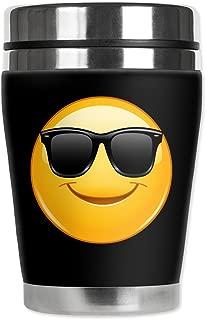 Mugzie brand 10-Ounce Travel Mug with Insulated Wetsuit Cover - Sun Glasses Emoji