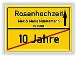 Geschenkidee zur Rosenhochzeit - 10 Jahre Verheiratet - Rosen Hochzeit - Ortsschild Bild Geschenk zum Hochzeitstag - Jubiläum mit Namen und Datum