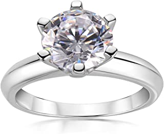 3 Carat Simulated Diamond Ring Round Cut White Sapphire Solitaire Ring 925 Sterling Silver Engagement Wedding Ring for Wom...