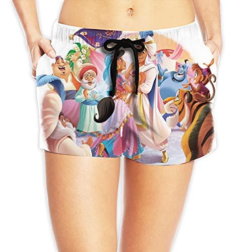 LUCKYLANS Aladdin Magic Lamp - Pantalones cortos de playa para mujer, transpirables y cómodos, con tres bolsillos