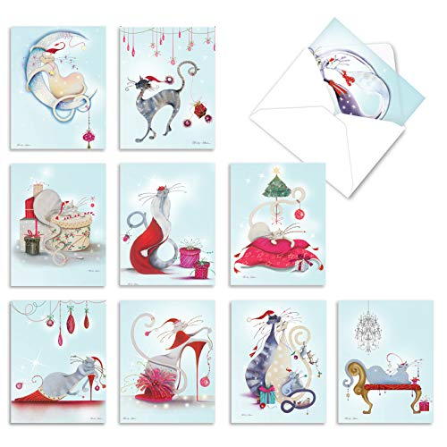 The Best Card Company - 10 Cat Season's Greetings Cards - Christmas Animal Notecards, Assorted Holiday Set (4 x 5.12 Inch) - Catitude Festive Felines M2301