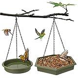 Aceshop Comedero Colgante para Pájaros 2 en 1 Comederos para Pájaros y Baños de Pájaros Cadena para Colgar Comederos de Pájaros con Bandeja de Semillas y Cuenco para Decoración de Jardín al Aire Libre