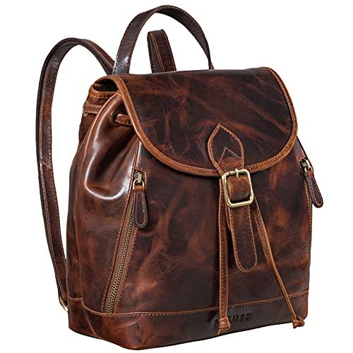 STILORD 'Allison' Rucksack Damen Modern Leder Vintage Daypack Klein Cityrucksack Rucksackhandtasche für Shopping Arbeit Reisen Echtleder, Farbe:Florida - braun