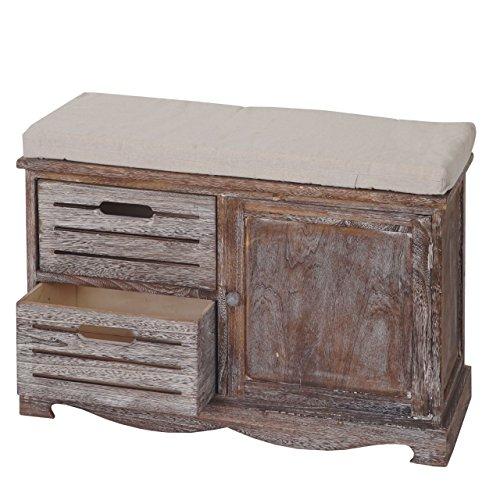 Mendler Sitzbank HWC-J22, Bank Kommode, Shabby-Look Vintage 49x71x32cm braun