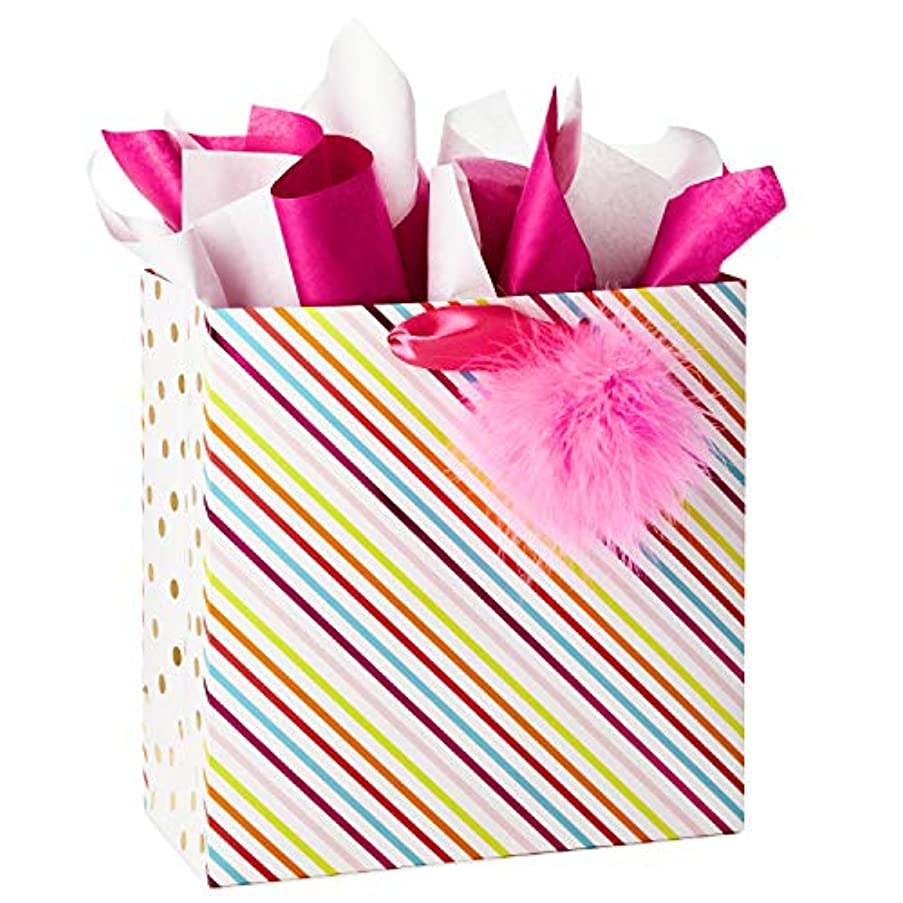 Hallmark Signature Large Gift Bag with Tissue Paper, Pom Pom Stripes (Baby Showers, Bridal Showers, Birthdays, All Occasion)